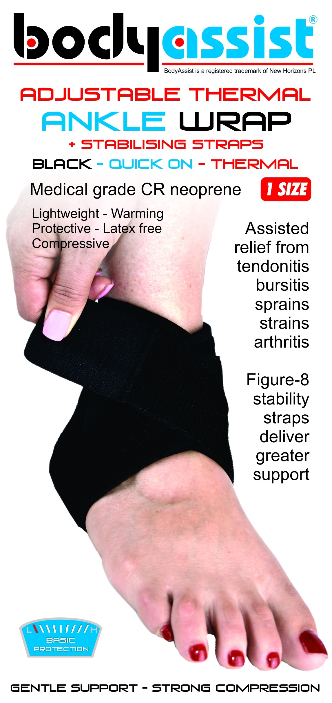 BA One Size Thermal Ankle Wrap with stabilzer straps