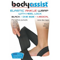 Bodyassist Elastic Ankle Wrap with Loop Anchor One size BLACK or BEIGE