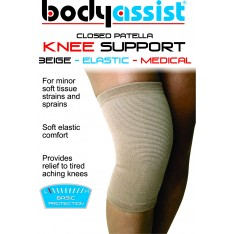 Slip-On Elastic Knee Support Beige Closed Patella