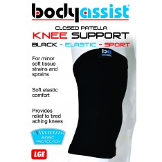 Sports Elastic Slip-On Knee Support Closed Patella Black