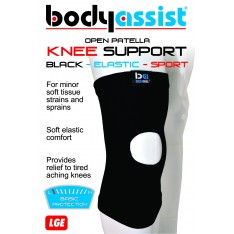 Sports Elastic Slip-On Knee Support Open Patella Black