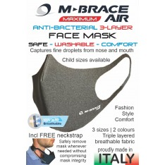 M-Brace AIR Antibacterial 3-Layer Face mask. LIGHT GRAY.
